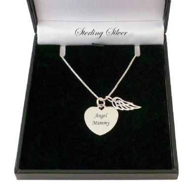 Engraved Heart with Angel Wing, Sterling Silver Necklace | Someone Remembered